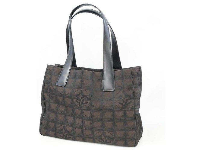 CHANEL New Travel Line tote PM Womens tote bag A20457 dark brown x black Leather Nylon  ref.283919