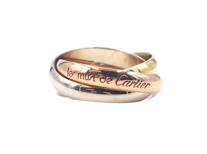 Bagues Cartier Cartier tricolore 18k Taille de bague Trinity 52 Or blanc Multicolore ref.284318