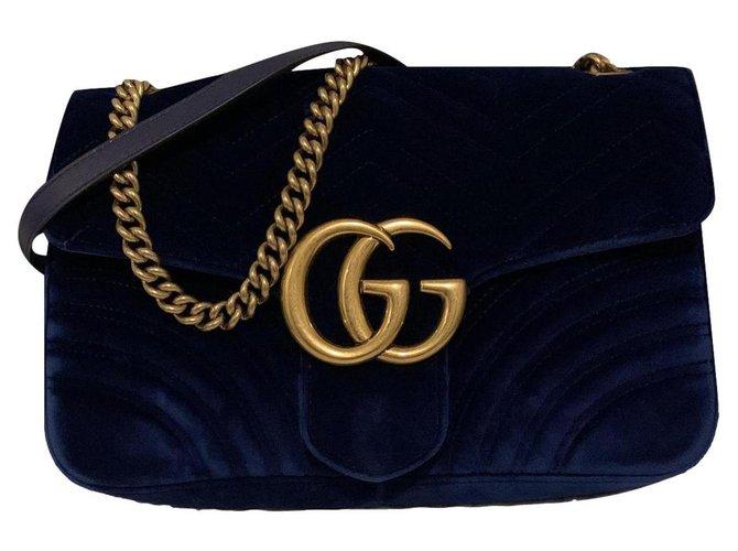 Gucci Marmont in blue velvet  ref.246567