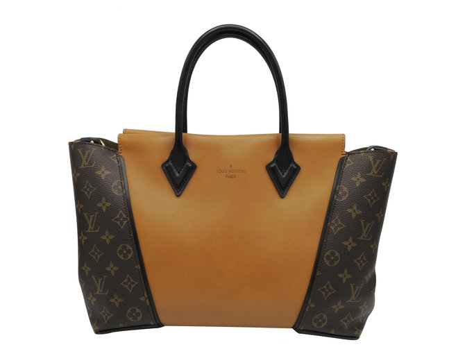 LOUIS VUITTON Tote Bag W Caramel Leather Cloth  ref.281196