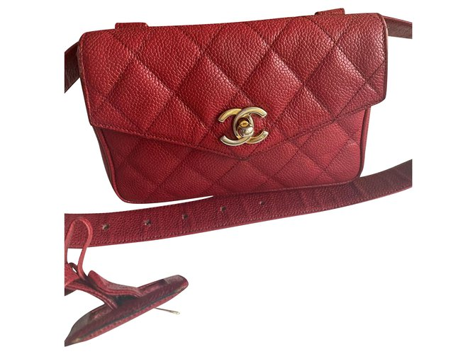 Chanel Clutch bags Clutch bags Leather Red ref.284080