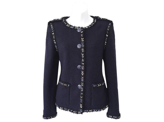 Chanel 7,5K$ lesage tweed jacket Navy blue  ref.284454