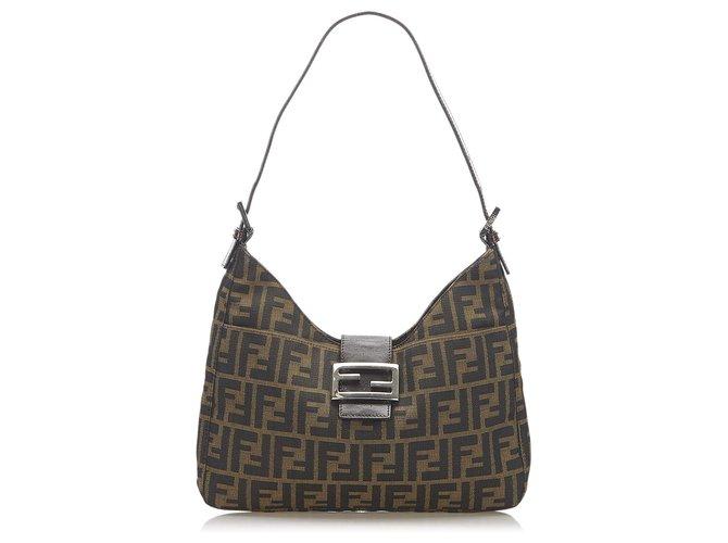 Fendi Brown Zucca Canvas Shoulder Bag Leather Cloth Pony-style calfskin Cloth  ref.284600