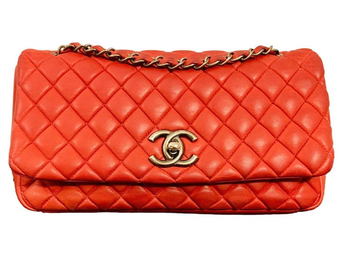 Timeless Chanel Red Quilted Iridescent Large Bubble Flap Bag LIMITED EDITION Pony-style calfskin  ref.285475