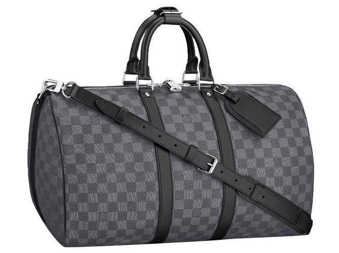 Louis Vuitton LV Keepall Damier graphite new Bags Briefcases Leather Grey ref.285550