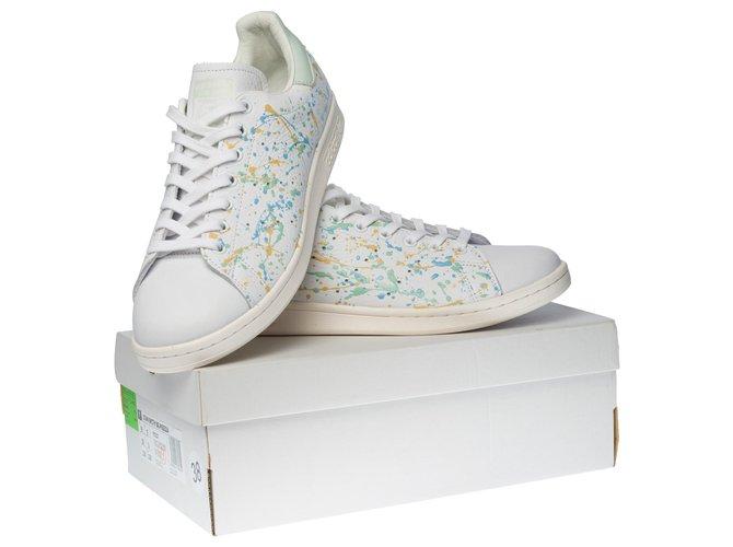 """Adidas NUEVO / Stan Smith en cuero blanco personalizado """"Pollock"""" Zapatillas Cuero Blanco,Multicolor ref.285655 - Joli Closet"""