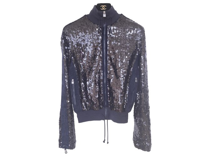 Chanel NEW trendy sequin bomber jacket Navy blue  ref.285972