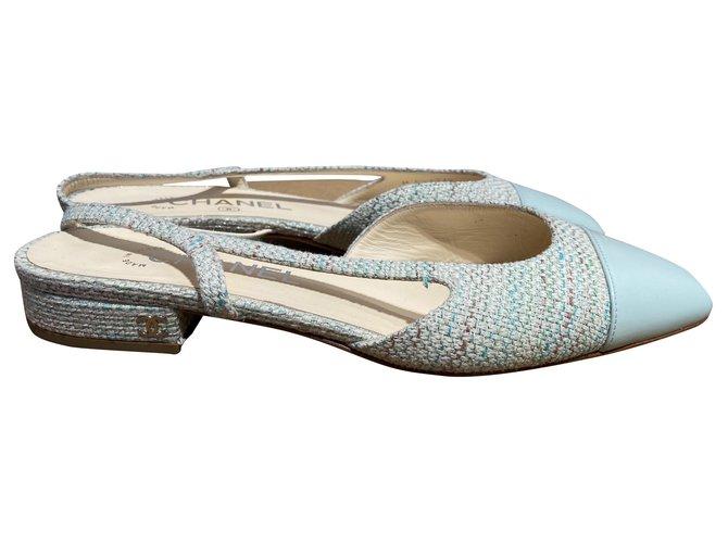 Chanel Heels Light green Tweed  ref.286025