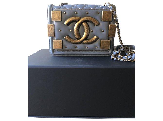 Chanel boy brick flap bag Blue Lambskin  ref.286110