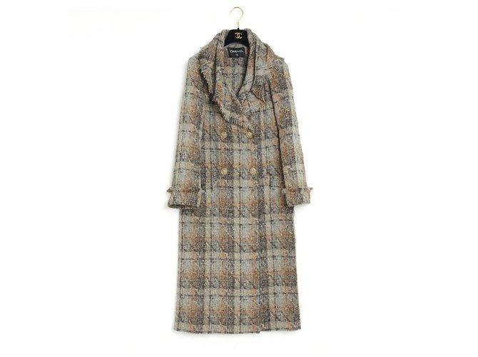 Chanel COAT TRENCH 18C TWEED FR34/36/38 Coats, Outerwear Tweed Grey ref.286943