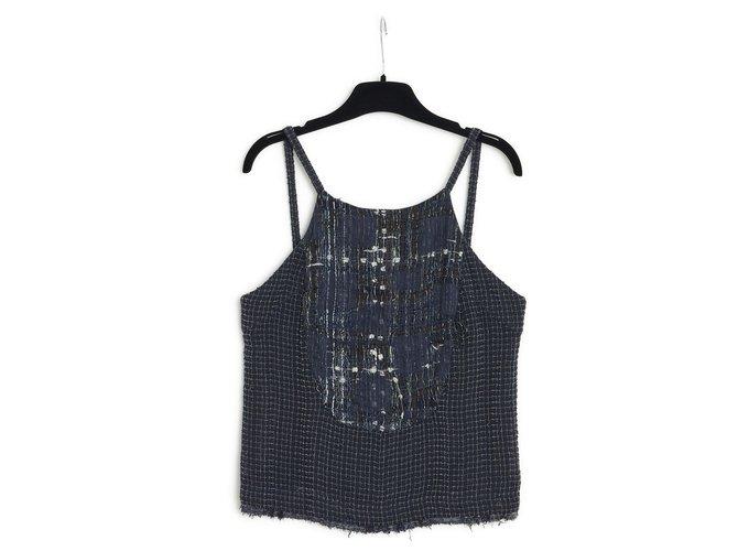 Chanel 06P NAVY SILK TWEED FR36/38 Tops Tweed Navy blue ref.287088