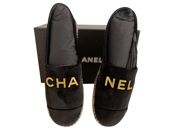 Chanel CHA NEL black velvet espadrilles Espadrilles Velvet Black ref.287128