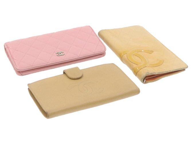 CHANEL Matelasse Cambon Caviar Skin Wallet Pink Beige 3Set Leather Auth ar3720  ref.287581