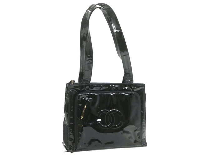 Chanel CHANEL Enamel Shoulder Bag Black CC Auth ar3668 Handbags Patent leather Black ref.287705