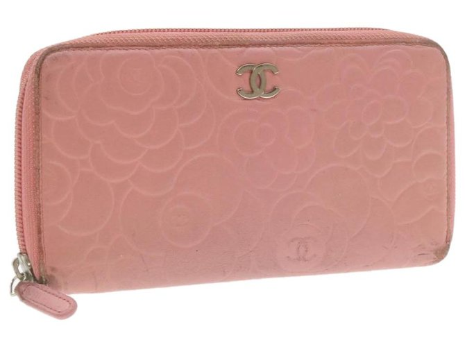 Chanel CHANEL Camellia Long Wallet Pink Leather CC Auth yt039 Purses, wallets, cases Leather Pink ref.287838