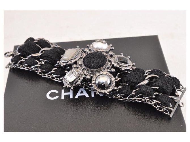 Chanel CHANEL CC Logos Black Silver Chain Bracelet Auth sa1441 Bracelets Metal Black,Silvery ref.288009