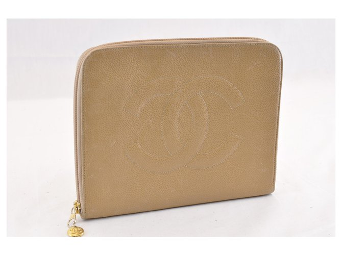 Chanel CHANEL Caviar Skin Leather Pouch Beige CC Auth sa1523 Clutch bags Leather Beige ref.288017
