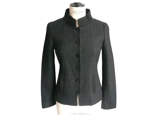 Chanel CHANEL UNIFORM Veste tweed col Mao T36 very good condition Jackets Wool Black ref.288348