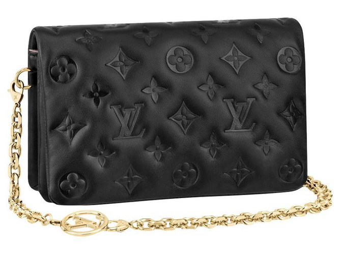 Louis Vuitton LV Pochette Coussin Black Leather  ref.288354