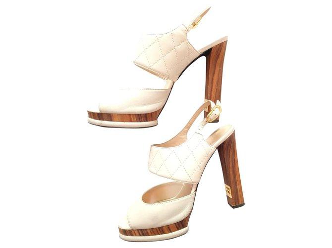Chanel Chanel high heel sandals Sandals Leather,Lambskin White ref.288418