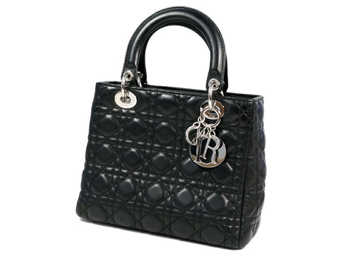 Dior Dior Christian Christian Lady Cannage Womens handbag CAL44551 black x silver hardware Handbags Leather Black,Silver hardware ref.288896