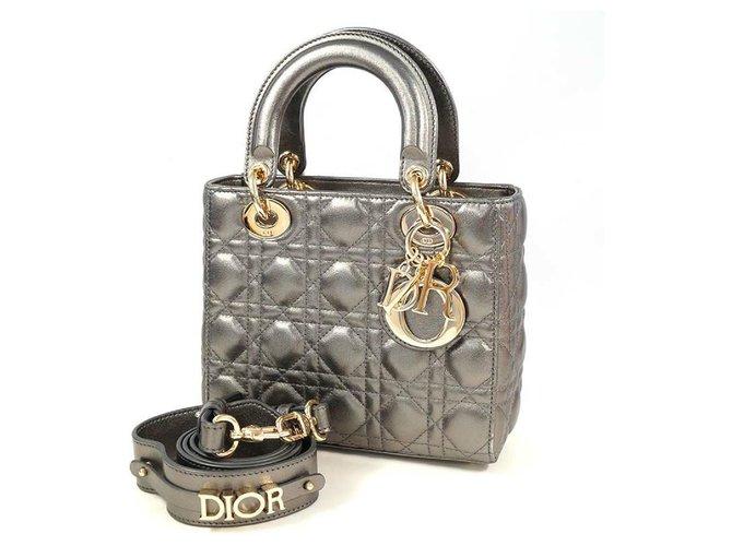 Dior Dior Christian Christian Lady Cannage Womens handbag 18-MA-1210 metallic gray x gold hardware Handbags Leather Other,Gold hardware ref.288897