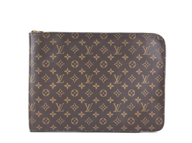 Louis Vuitton Louis Vuitton Porte-Documents Clutch GM Monogram Canvas Clutch bags Leather Brown ref.288898