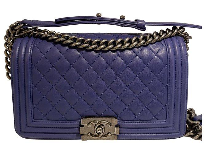 chanel boy bag Blue Lambskin  ref.290812