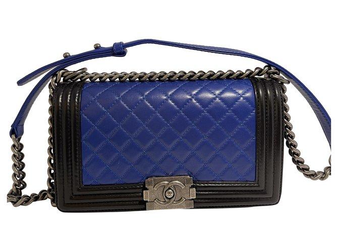 chanel boy bag Black Blue Lambskin  ref.290835