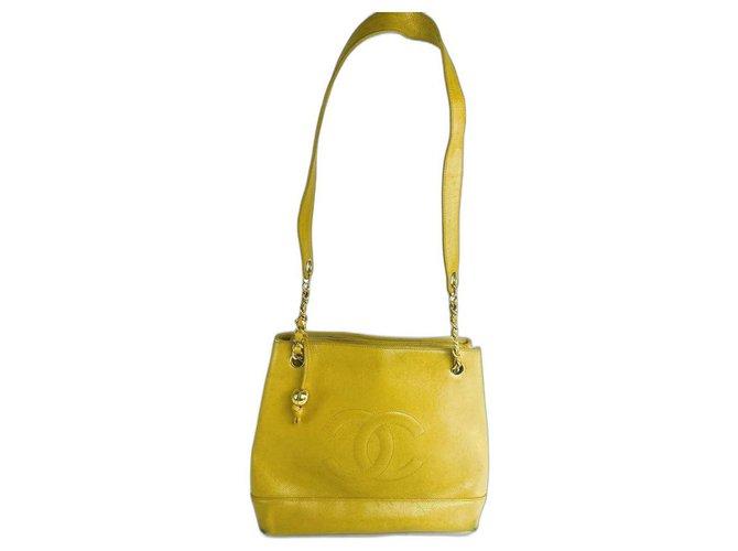 Chanel Yellow Caviar CC Chain Tote Classic  ref.291230