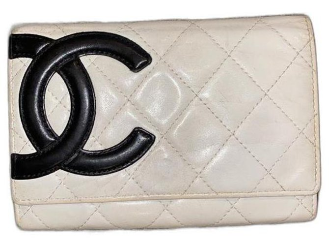 Chanel Cambon Off-White Card Wallet Flap Quilted  ref.291257