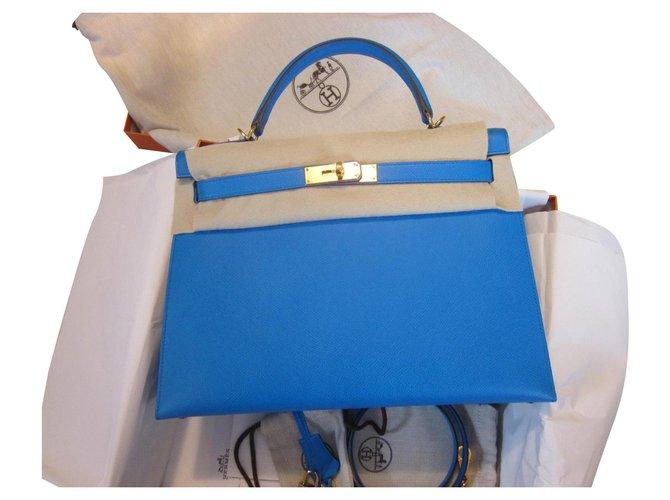 Hermès Kelly 32 Sellier Blue Leather  ref.293199