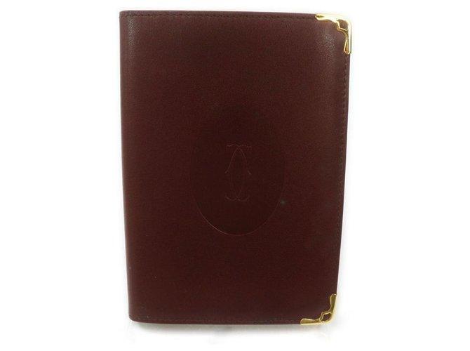 Cartier Cahier Agenda en cuir bordeaux  ref.293549