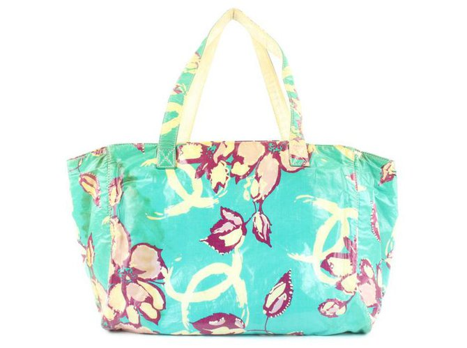 Chanel Blue Floral Shopper Tote Bag  ref.297398