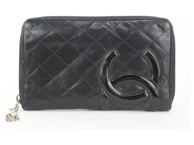 Chanel Black Quilted Leather Cambon Line Zippy Organizer Wallet  ref.298817