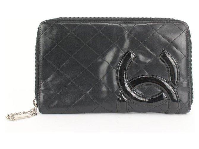 Chanel Large Black Quilted Cambon Ligne Zip Around Organizer Wallet Leather  ref.298866