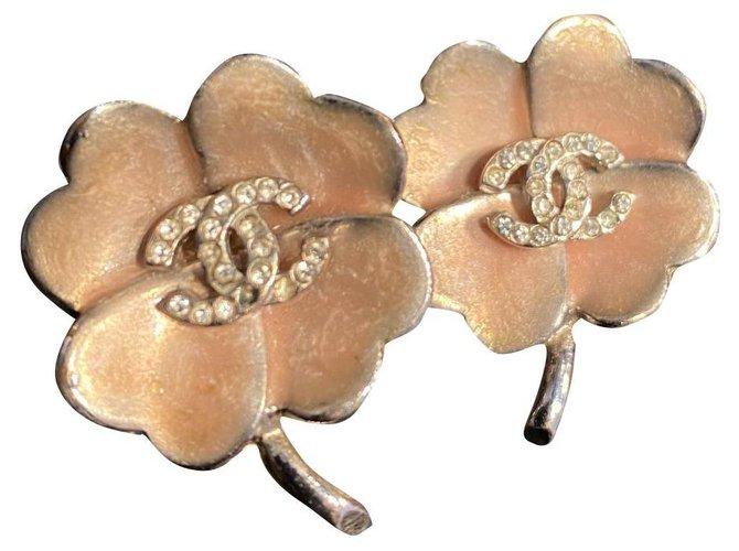 Chanel Earrings Silvery Pink Metal  ref.299582