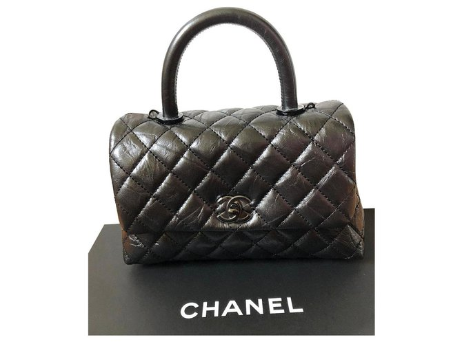 Chanel Small So Black Coco Handle bag Exotic leather  ref.299648