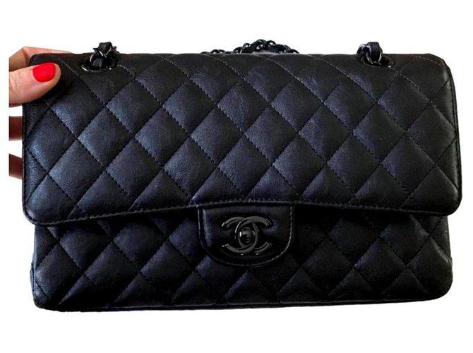 Chanel Rare Chanel So Black Medium Timeless Classic flap bag Handbags Leather Black ref.299654