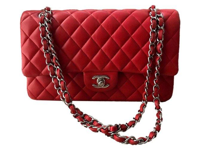 Chanel Classic Timeless Medium Handbags Leather,Lambskin Red ref.300139