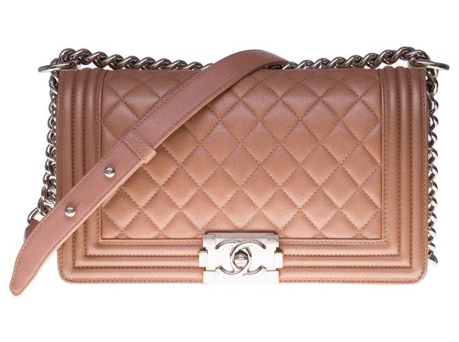 Boy Superb Chanel Old Medium shoulder bag in bronze-colored quilted leather, silver metal trim  ref.300443