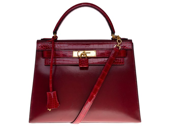 Exceptional Hermès Kelly bag 32 shoulder strap in Red H box leather customized with red crocodile Exotic leather  ref.301369