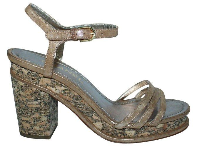 Chanel Brown Cork Block Heel Sandals  ref.302254