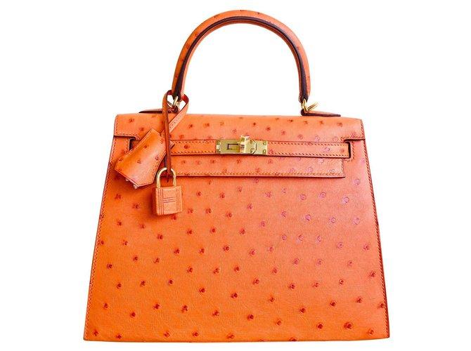 Hermès KELLY II tangerine orange ostrich Handbags Exotic leather Orange ref.303266