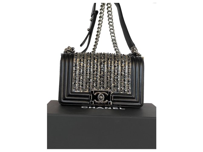 Limited Edition Chanel small boy pearl and crystal embellished Black Lambskin  ref.303978