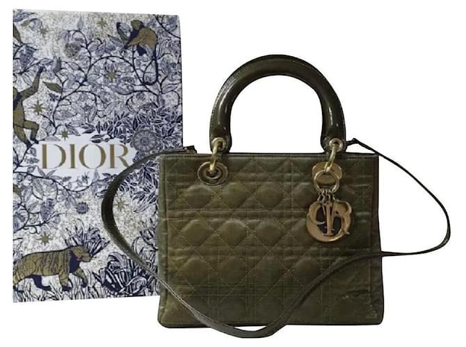 Christian Dior Lady Dior Medium Khaki Canvas Bag Leather  ref.303998