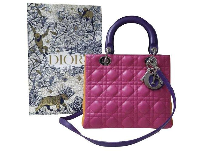 Christian Dior Lady Dior Medium Cannage Lambskin Tricolor Handbags Leather Multiple colors ref.304000
