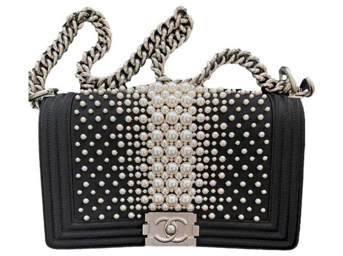 Chanel Medium Boy Bag with Pearls  - Limited Edition Black Satin  ref.304879