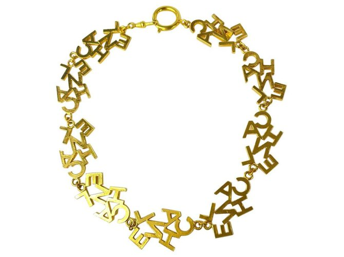 Chanel Ultra Rare Gold CC Logo All Over Necklace Choker Letter Word White gold  ref.305674