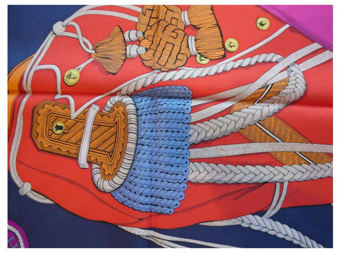 """square hermès """"zouaves and dragons"""" with its box Silk  ref.307363"""